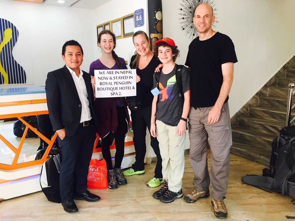 sharone melamed and their family with Residence Manager Bishal Tamang