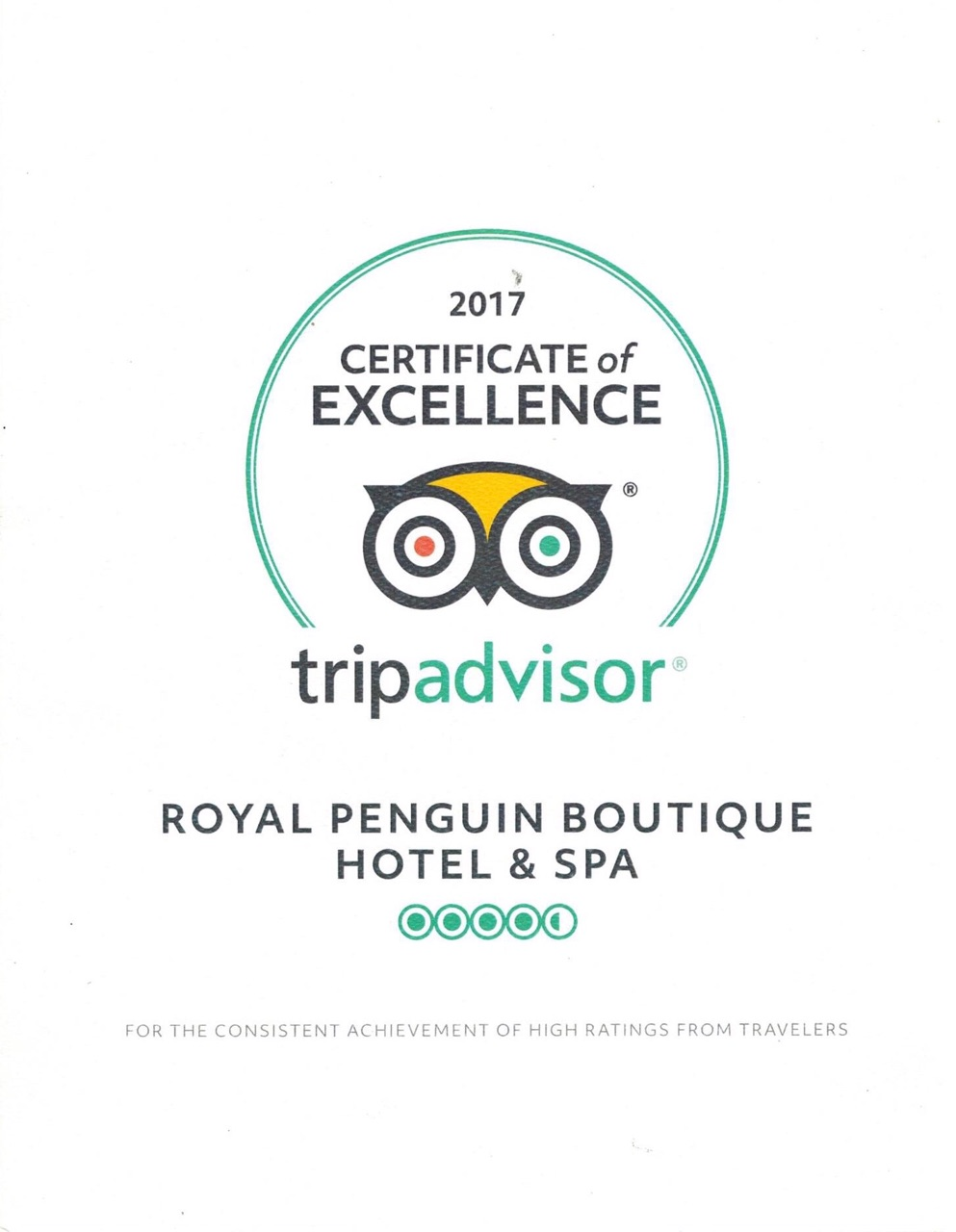 Trip Advisor Award for Royal Penguin Boutique Hotel & Spa